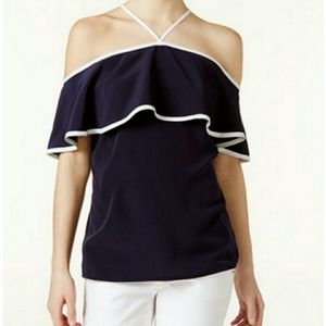 Trendy Calvin Klein Ruffle-Off the Shoulder top